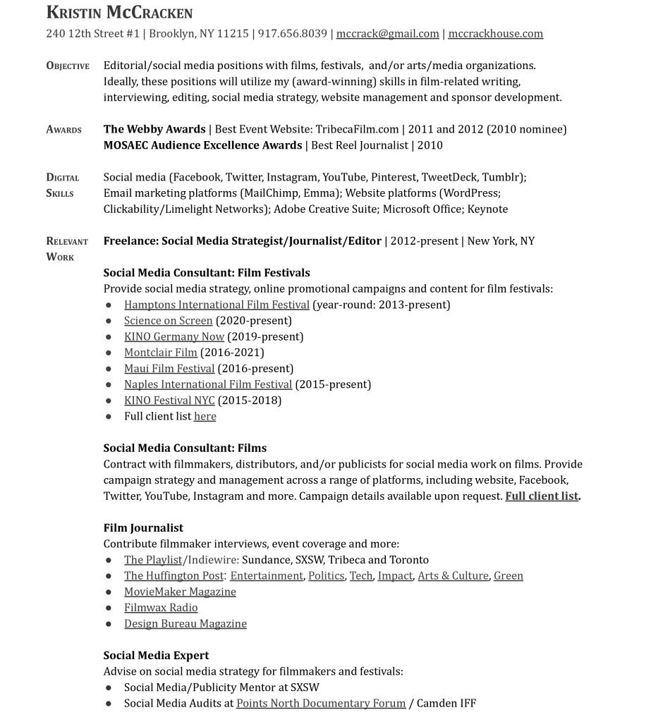 Kristin McCracken Résumé 2021-1